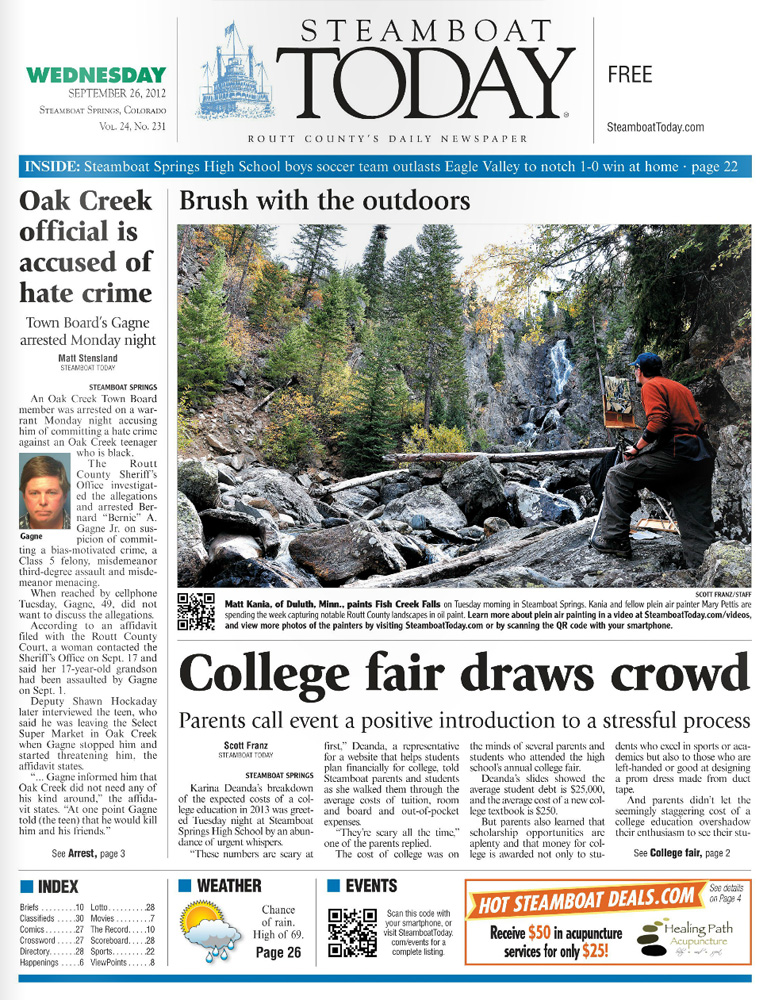 Steamboat Today front page (9-26-2012)