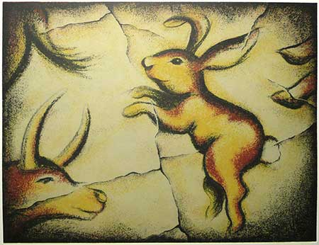 Bunny at Lascaux — solarplate etching, 12x16
