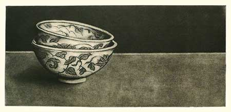 Rice Bowls — solarplate etching, 4.75x10.25